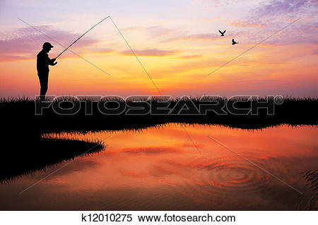 Stock Illustration of fishing at sunset k12010275.