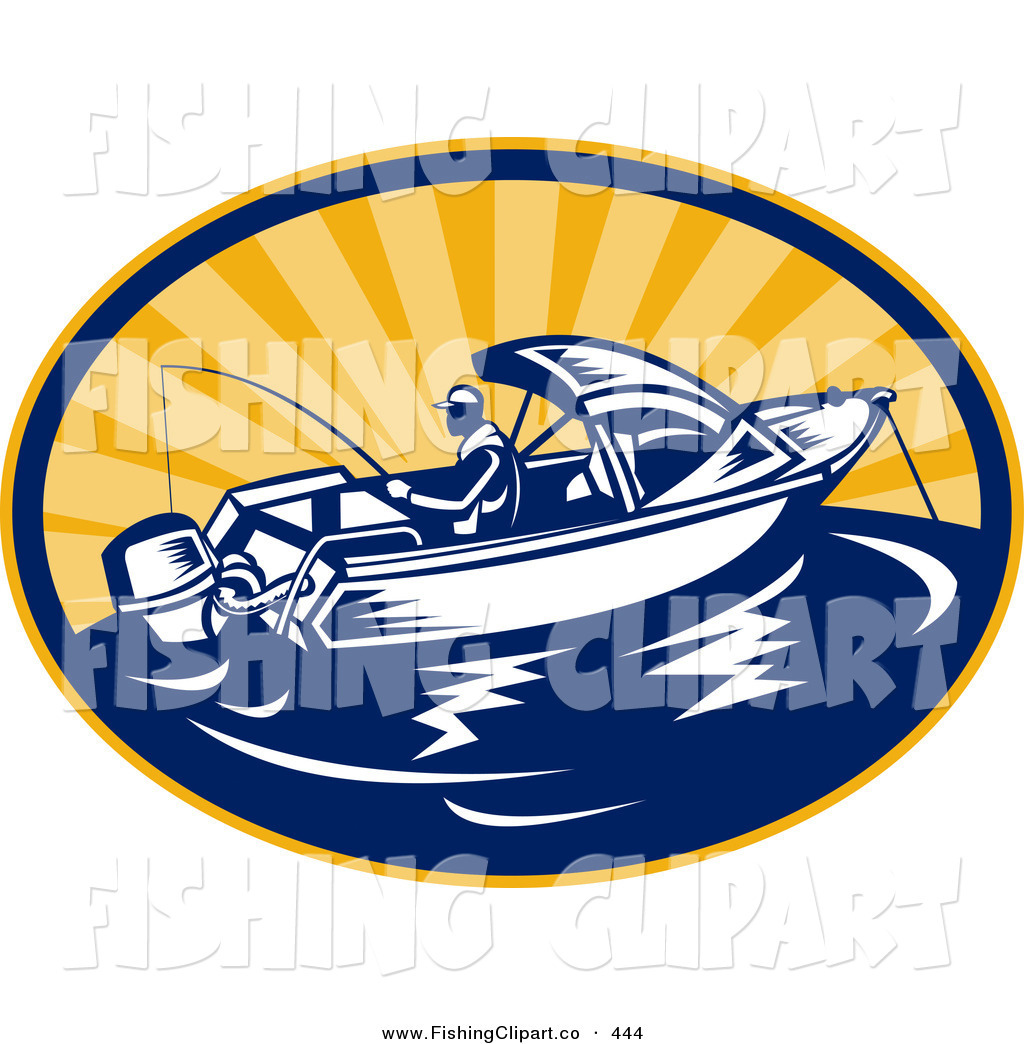 Clip Art of a Fishing Boat Logo out at Sea During a Sunrise or.
