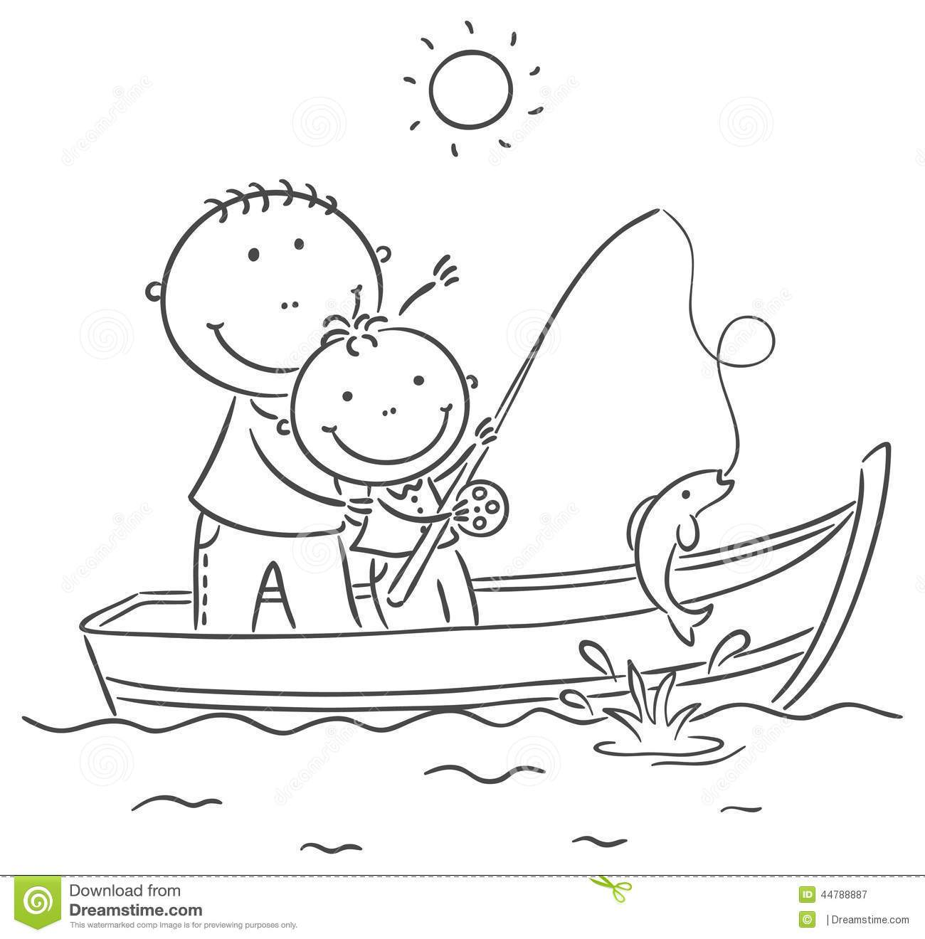 Kids fishing clipart black and white 5 » Clipart Portal.