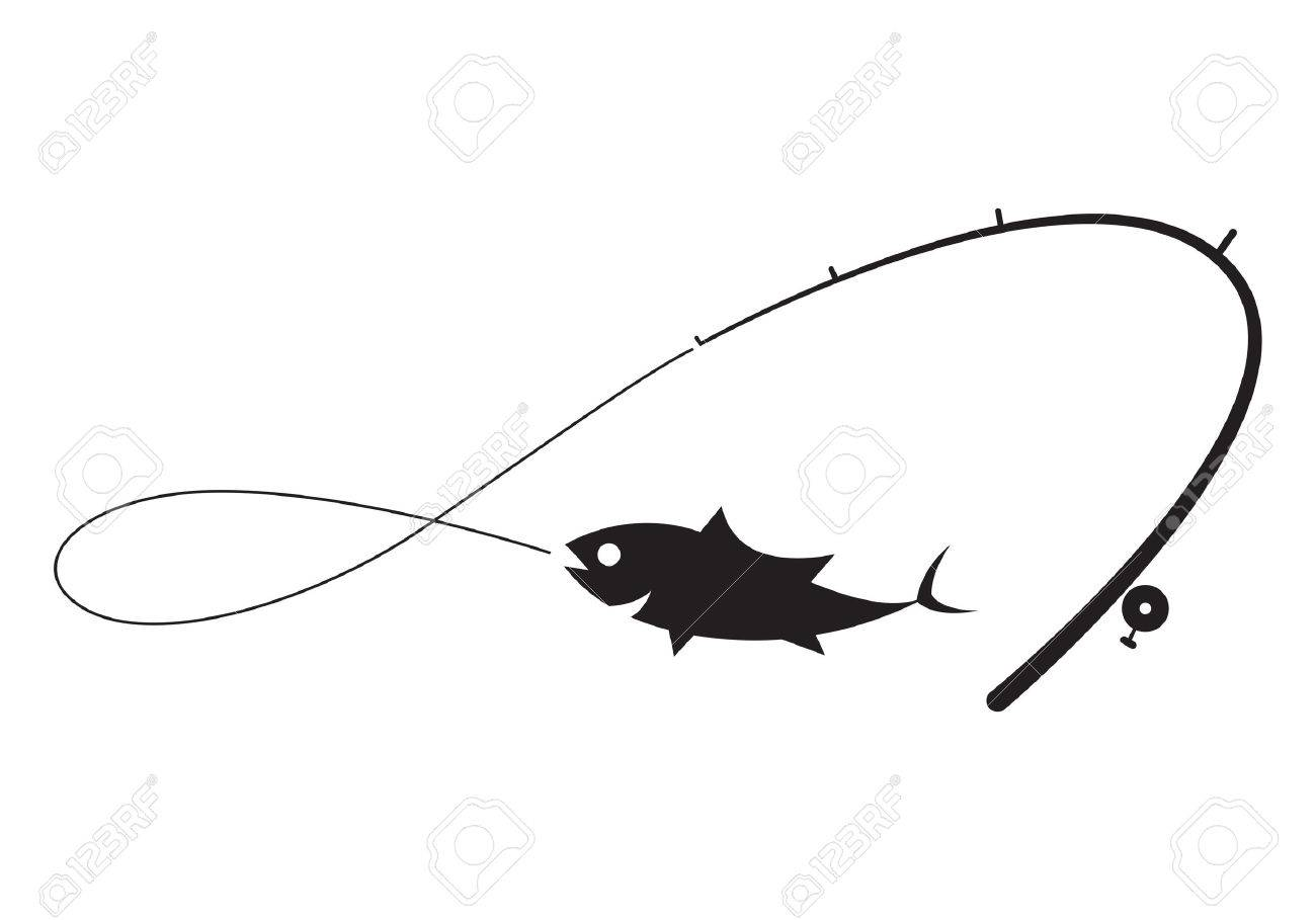 clip art black fishing on white background.