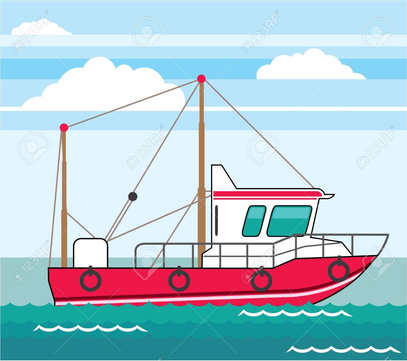 Fishing boat vector illustration clip.