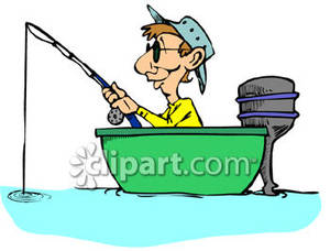 Old Man On A Fishing Boat Clipart.