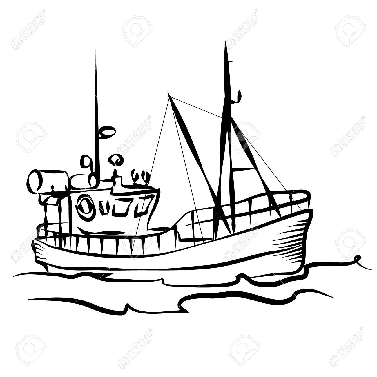 Fishing boat business silhouette graphic.