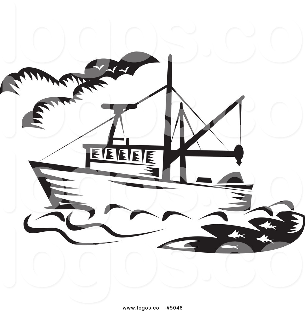 Royalty Free Vector of a Black and White Fishing Boat Logo by.