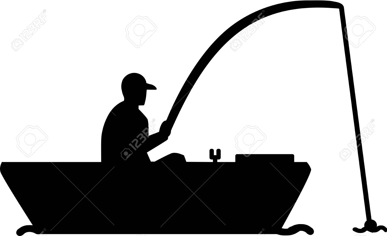 Fishing Silhouette Man in Boat » Clipart Station.