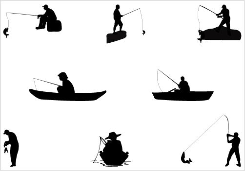 Man Fishing Silhouette vector graphics.