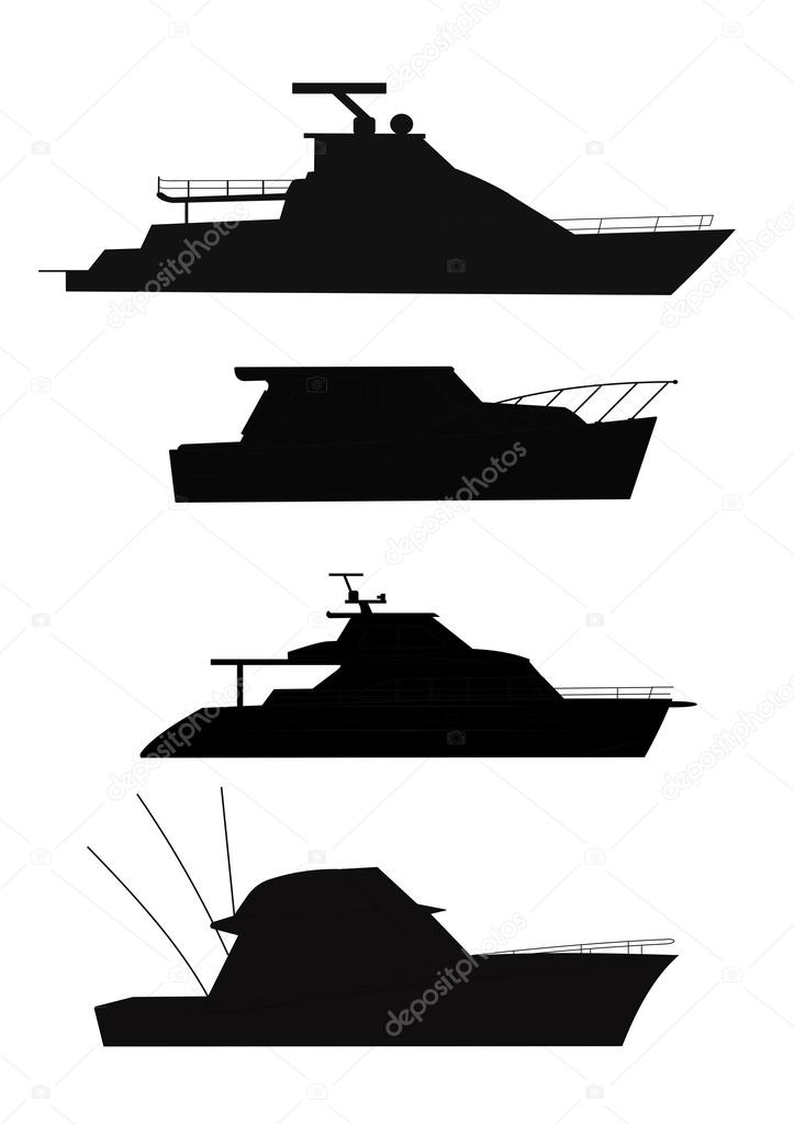 Fishing boat silhouette clip art.