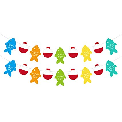 Little Fisherman Fish Bobber Garland Banner for Gone Fishing Party Supplies  School Home Decorations.