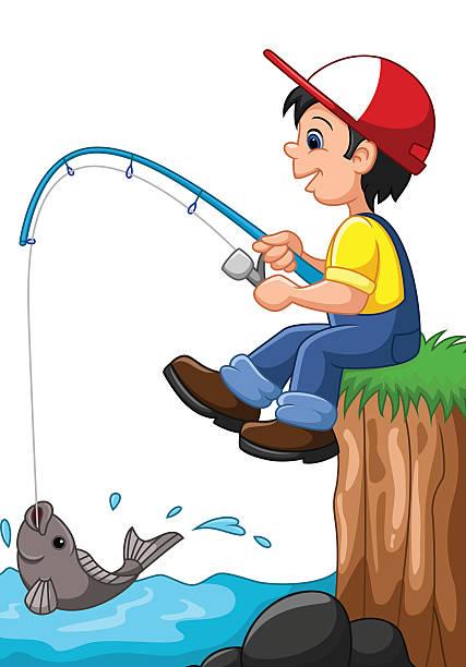 Boy Fishing Clipart.