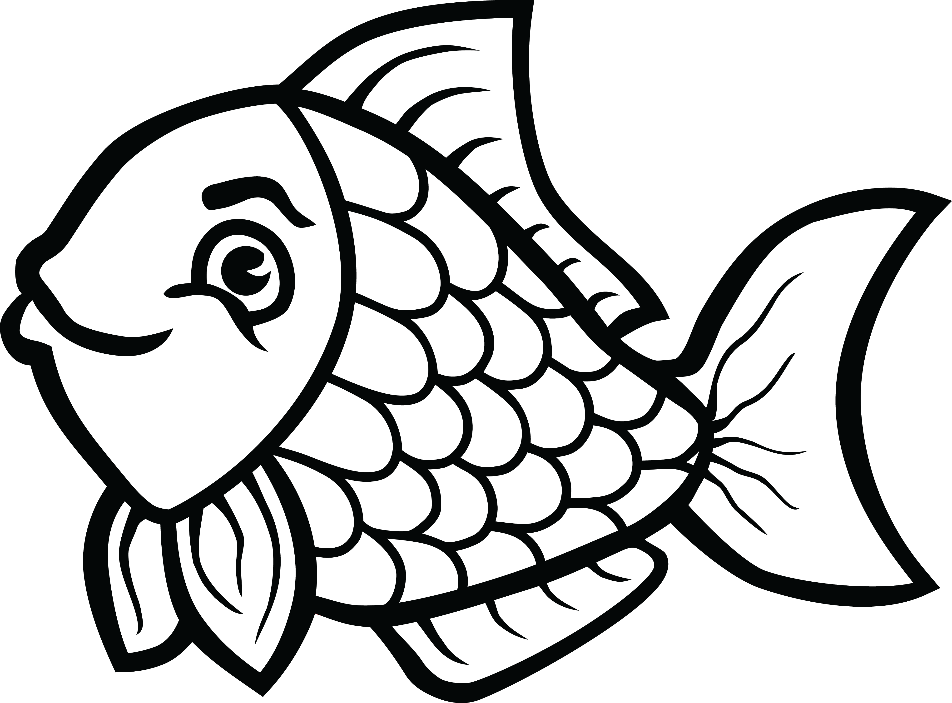 Black And White Fish Drawing at PaintingValley.com.