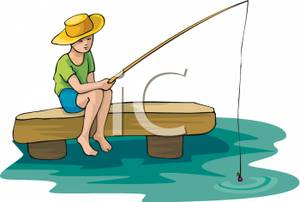 A Boy Fishing From A Dock.
