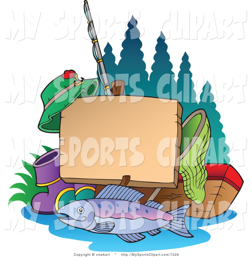 Sports Clip Art of a Blank Fishing Post Sign with Fishing Gear by.