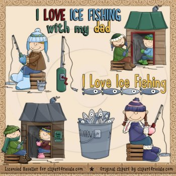 Funny Ice Fishing Clipart.