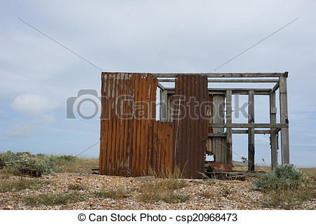 Picture of Old dilapidated ruined fishing hut.