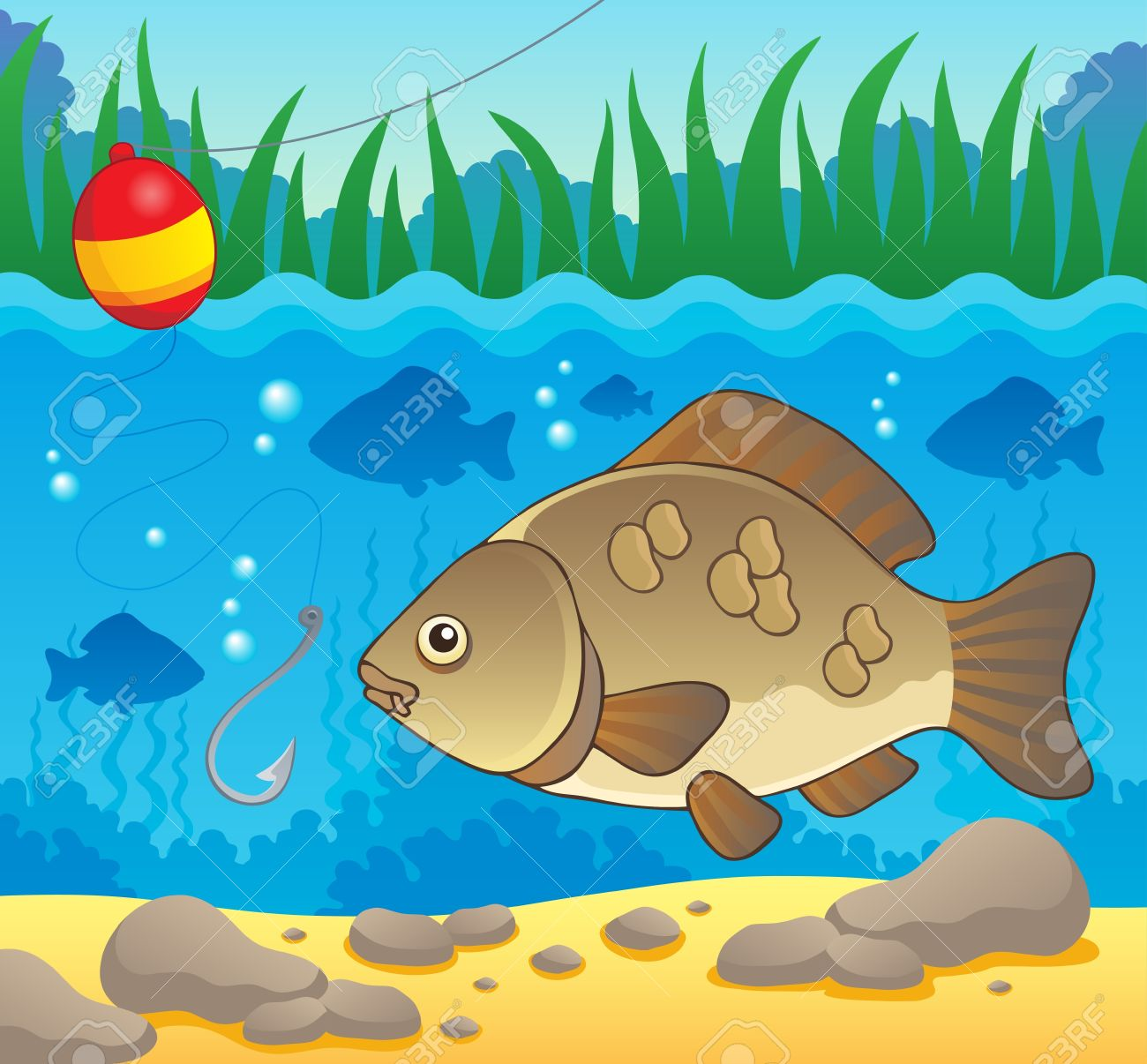 Fishing in river clipart