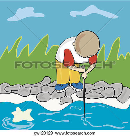 Stock Illustration of Boy fishing in a river gwil20129.
