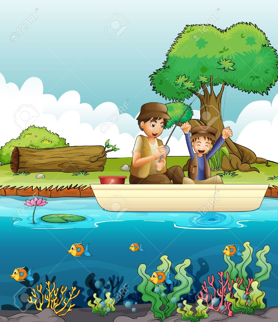 Two people fishing clipart.