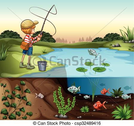 Vector Clip Art of Boy on the river bank fishing alone.