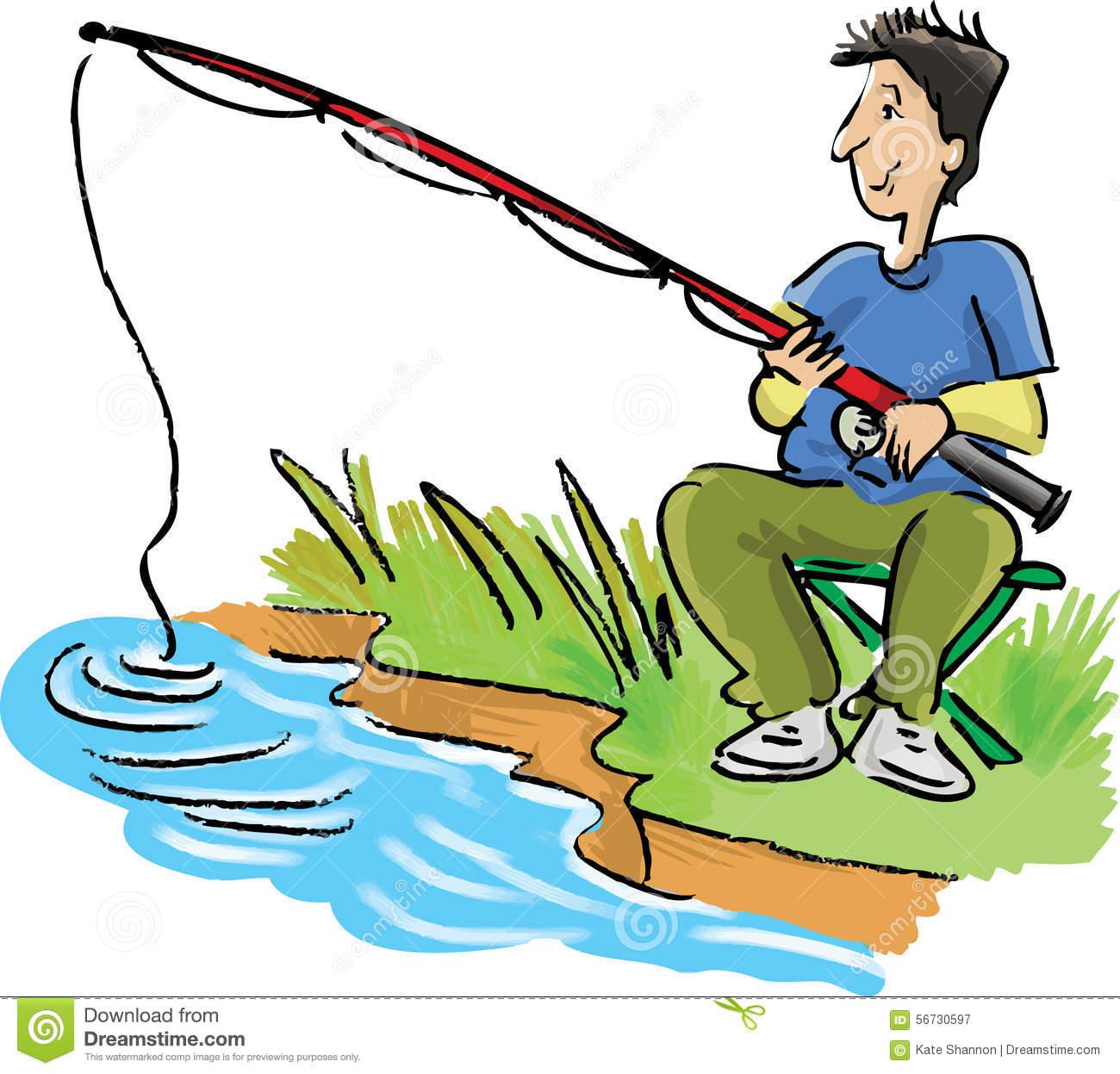 Man Fishing Stock Vector.