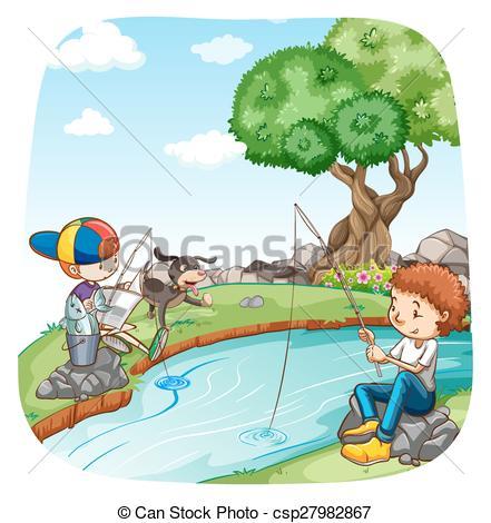 Clip Art Vector of Fishing.