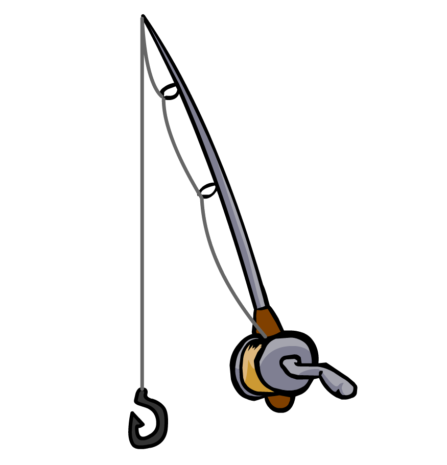 Fish on a line clipart.