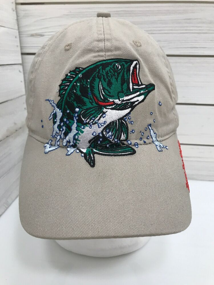 Bass Pro Shops Embroidered Fish Logo Baseball Cap Hat.