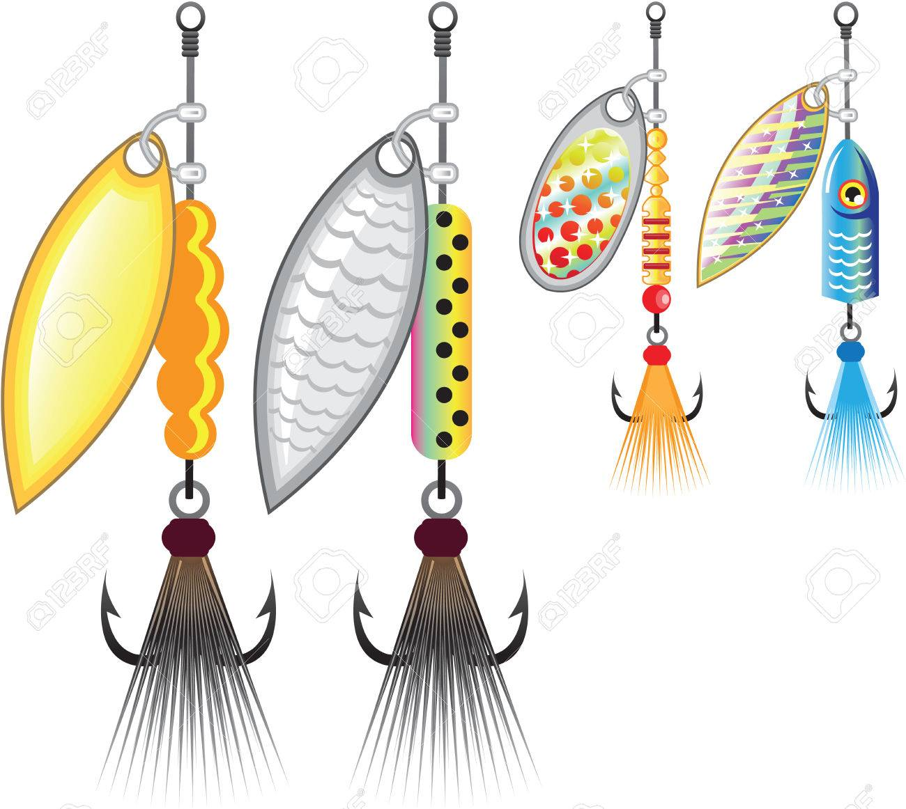 Set of spinners fishing lures vector illustration clip.