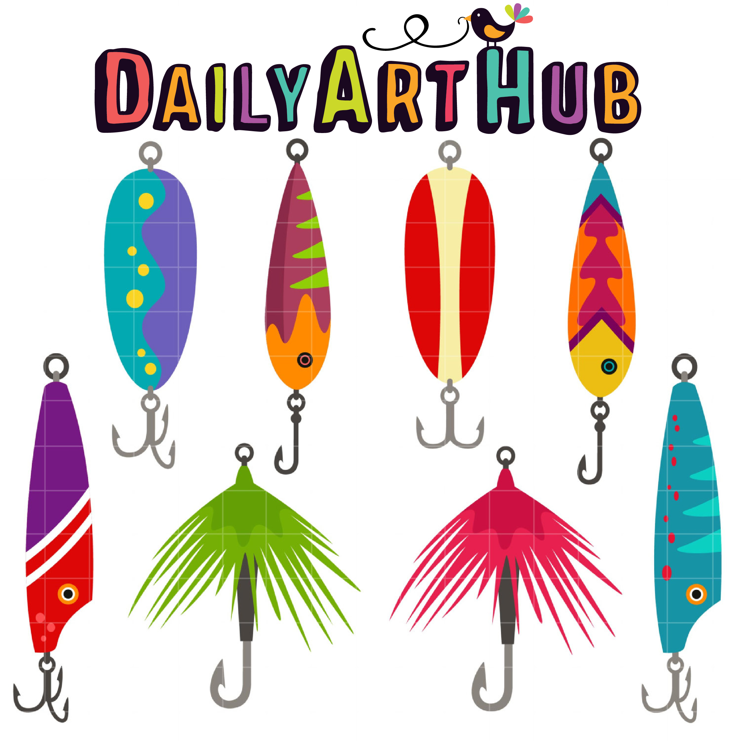 Fishing Lures Clip Art Set.