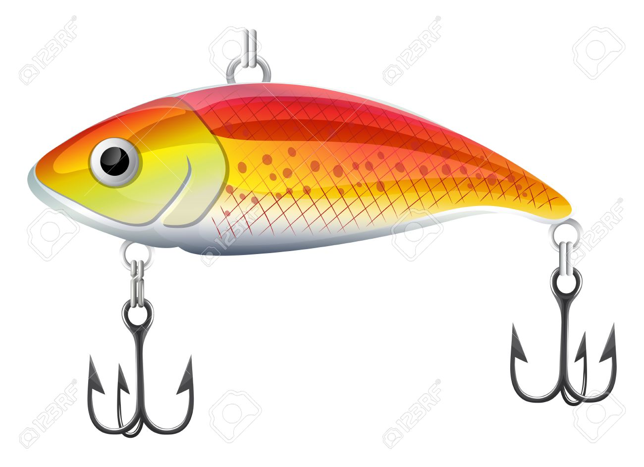 Plastic orange fishing lure with hooks.