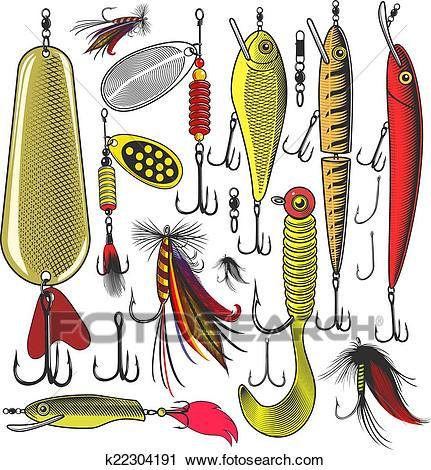 Artificial fishing lures Clipart.