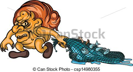 Clipart Vector of Trolls fishing.