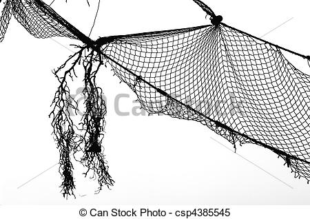Fishing net clipart black and white.