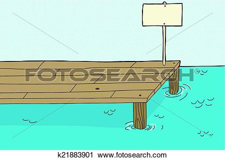 Clipart of Fishing Pier with Sign k21883901.