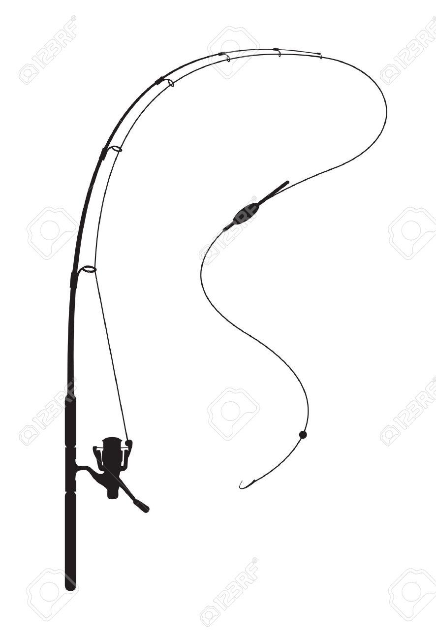 Fishing rod on white background.