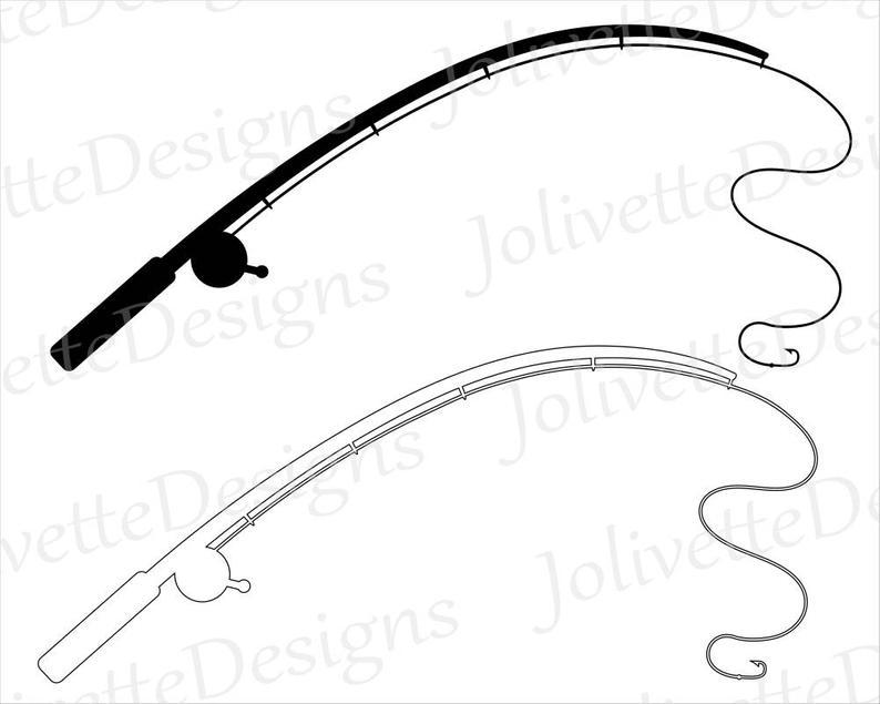 Fishing Pole, Fishing Rod, Reel, Hook, Fish, Clip Art, Clipart, Design, Svg  Files, Png Files, Eps, Dxf, Pdf, Silhouette, Cricut, Cut File.