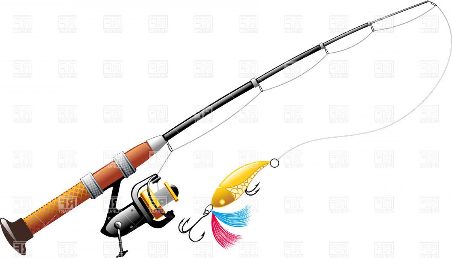 Spinning With Spoon Bait Fishing Rod With Reel Vector Clipart.