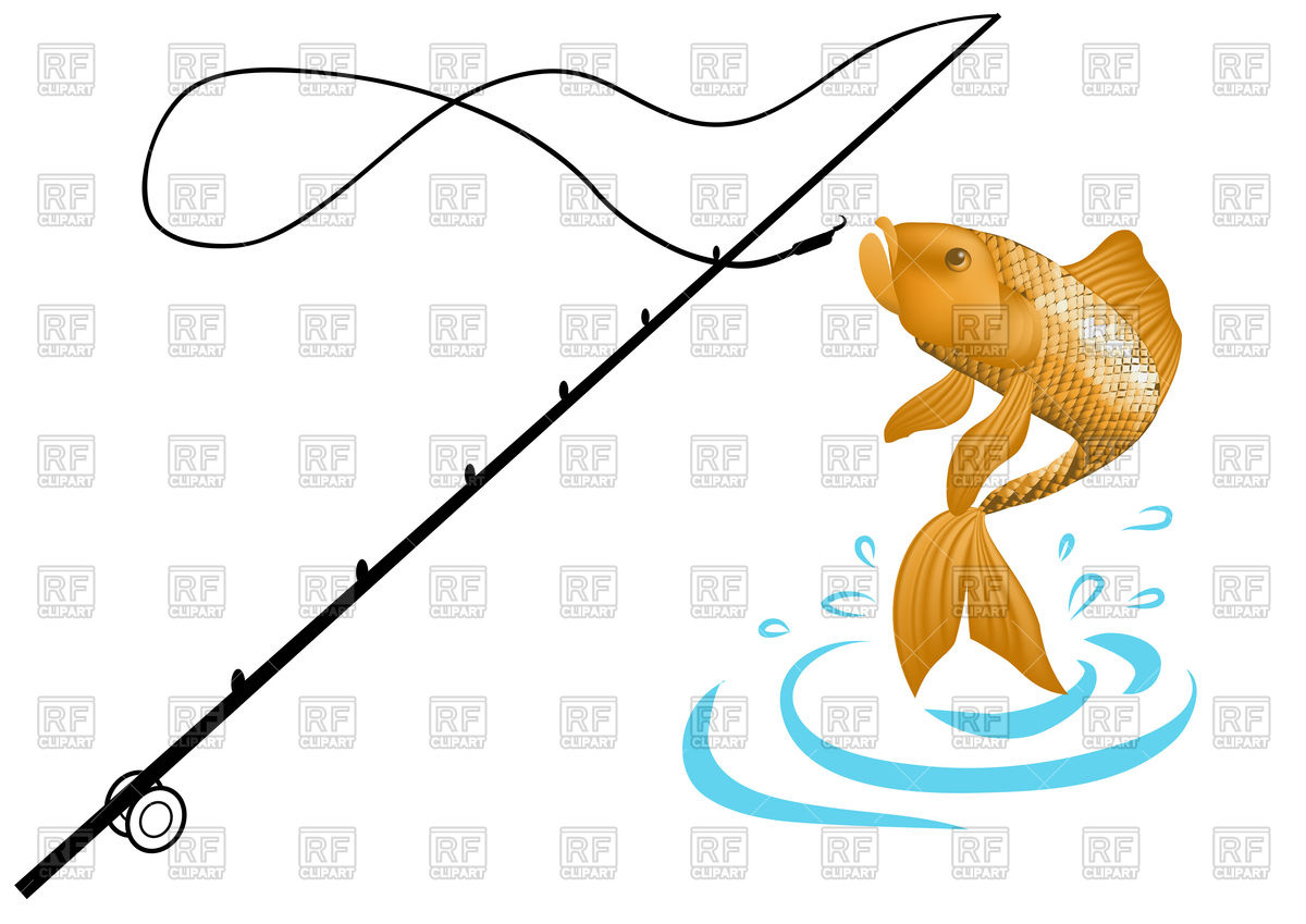 Fishing rod and fish Stock Vector Image.