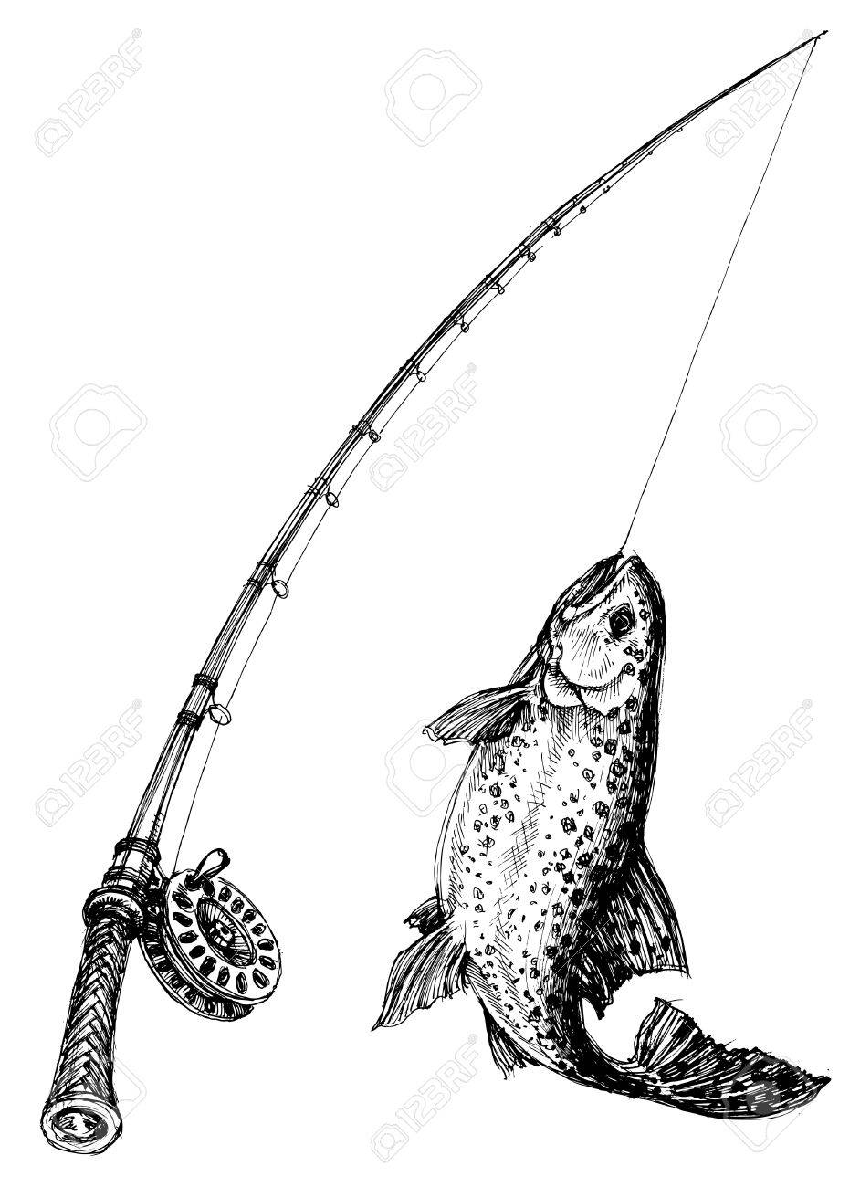 Fishing rod and fish isolated.