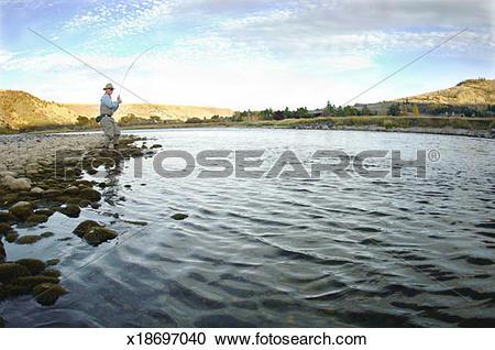 Stock Photography of USA, Idaho, South Fork on Snake River, man.
