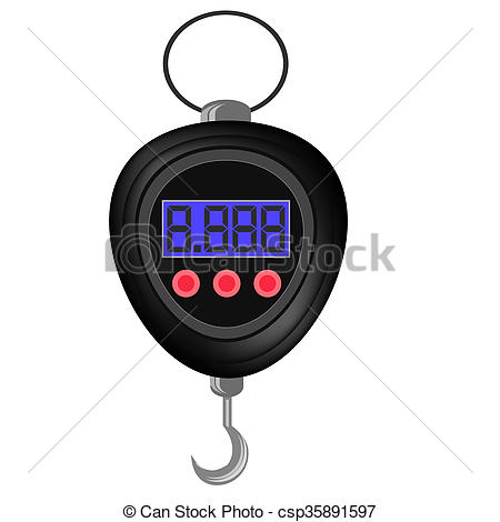 Stock Illustration of Digital Portable Weighing Scale for Fishing.