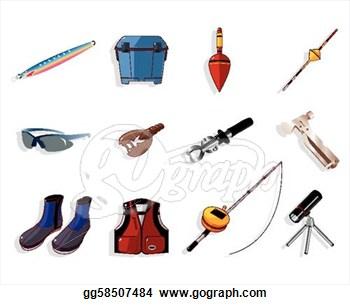 Fishing Supplies Clipart.