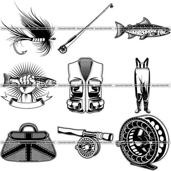 9 Fly Fishing Design Elements Sport Game Fish Fisherman Tournament BUNDLE  ClipArt SVG.