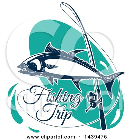 Clipart of a Cartoon Blue Tuna Fish.