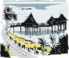 Vector illustration of Malay fishing village, Singapore.