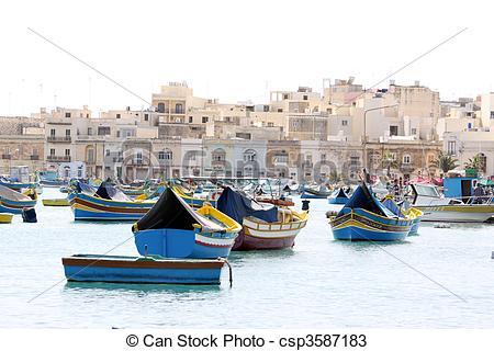 Stock Photos of maltese fishing village.
