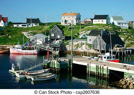 Stock Image of Nova Scotia Fishing Village.