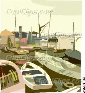 fishing village Vector Clip art.