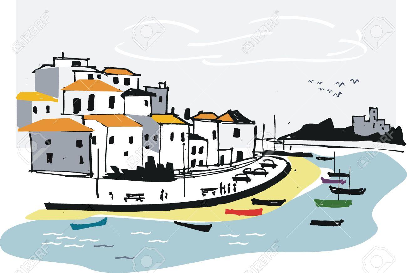 Portugal Fishing Village Illustration Royalty Free Cliparts.