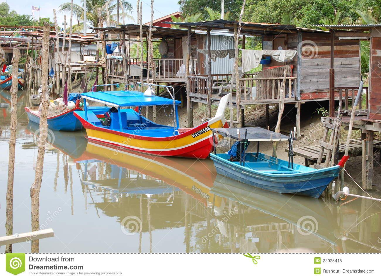Malaysian Fishing Village Editorial Stock Photo.