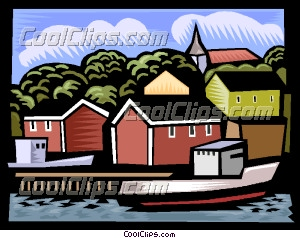 Fishing village Clip Art.